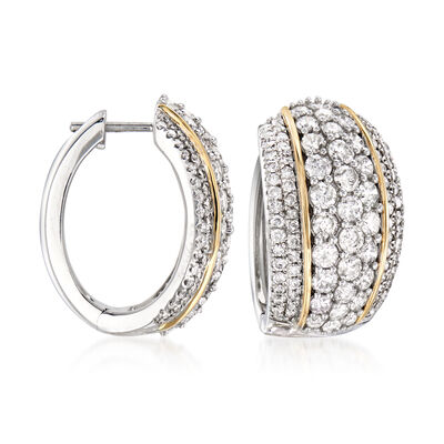 4.00 ct. t.w. Diamond Hoop Earrings in Sterling Silver with 14kt Yellow Gold, , default