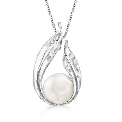 12-12.5mm Cultured Pearl Teardrop Pendant Necklace in Sterling Silver
