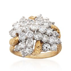 C. 1980 Vintage 3.70 ct. t.w. Diamond Cluster Ring in 14kt Yellow Gold. Size 7, , default
