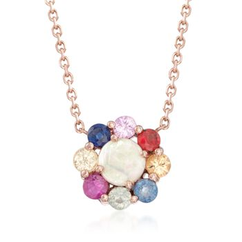 """Opal and .48 ct. t.w. Multicolored Sapphire Floral Pendant Necklace in 14kt Rose Gold. 18"""", , default"""