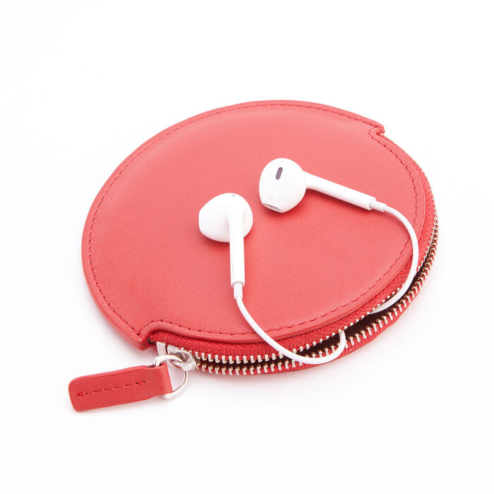 Royce Red Leather Circular Earbud Case
