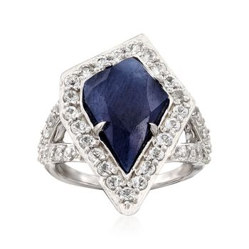 5.00 Carat Sapphire and 1.90 ct. t.w. White Topaz Ring in Sterling Silver, , default