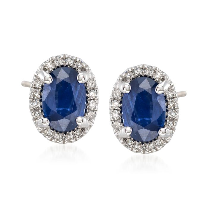 1.10 ct. t.w. Sapphire and .10 ct. t.w. Diamond Stud Earrings in 14kt White Gold