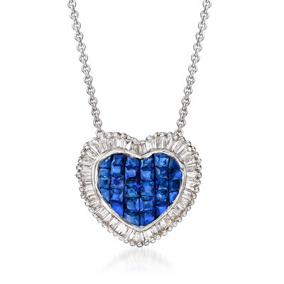 .90 ct. t.w. Sapphire and .30 ct. t.w. Diamond Heart Necklace in 18kt White Gold, , default