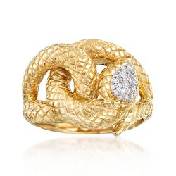 14kt Yellow Gold Snake Ring With .10 ct. t.w. Diamonds, , default