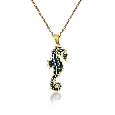 14kt Yellow Gold Seahorse Pendant Necklace, , default