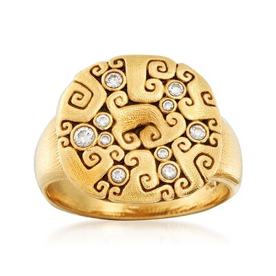 C. 2000 Vintage Alex Sepkus .13 ct. t.w. Diamond Swirl Ring in 18kt Yellow Gold, , default