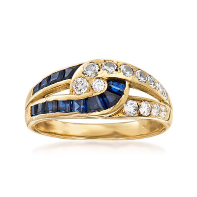 C. 1980 Vintage .45 ct. t.w. Diamond and .60 ct. t.w. Sapphire Swirl Ring in 18kt Yellow Gold