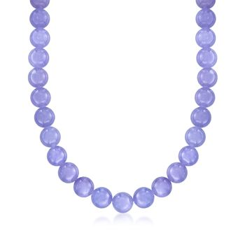 "10mm Lavender Jade Bead Necklace With 14kt Yellow Gold. 18"", , default"