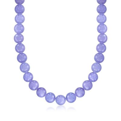 10mm Lavender Jade Bead Necklace with 14kt Yellow Gold, , default