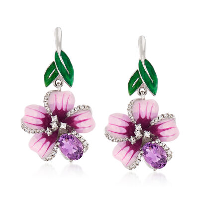 1.40 ct. t.w. Amethyst and .28 ct. t.w. White Topaz Flower Drop Earrings with Multicolored Enamel in Sterling Silver, , default