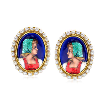 C. 1950 Vintage 3mm Cultured Pearl and Hand-Painted Portrait Earrings in 14kt Yellow Gold