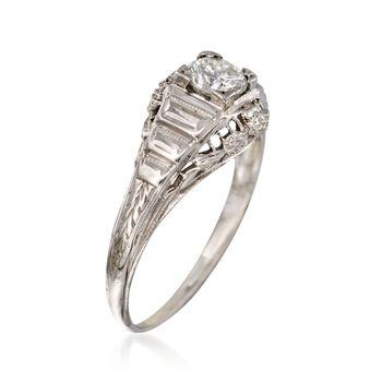 C. 1950 Vintage .35 Carat Diamond Floral Solitaire Ring in 18kt White Gold. Size 4.5, , default