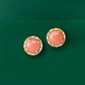 Coral and Diamond-Accented Stud Earrings in 14kt Yellow Gold