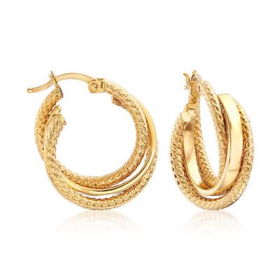 22kt Yellow Gold Interlocking Hoop Earrings, , default