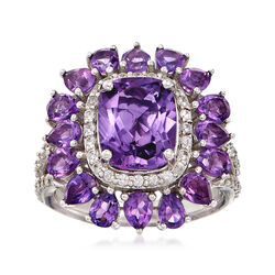 4.60 ct. t.w. Amethyst and .60 ct. t.w. White Topaz Ring in Sterling Silver, , default