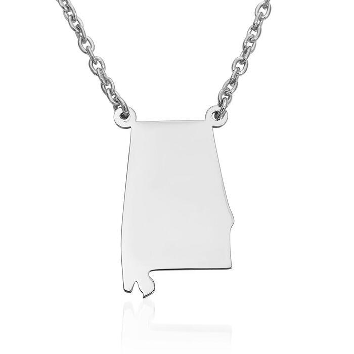 Sterling Silver U.S. State Necklace 18-inch (Alabama)