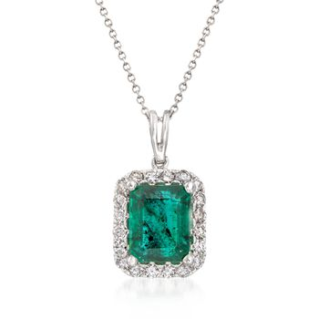 """4.00 Carat Emerald Pendant Necklace With .60 ct. t.w. Diamonds in 14kt White Gold. 16"""", , default"""