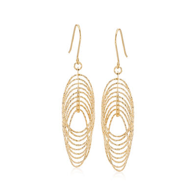 14kt Yellow Gold Textured and Polished Multi-Oval Drop Earrings, , default