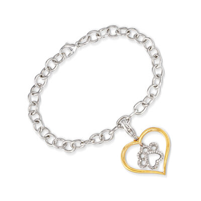 .15 ct. t.w. Diamond Paw Print and Heart Bracelet in Sterling Silver and 18kt Gold Over Sterling, , default