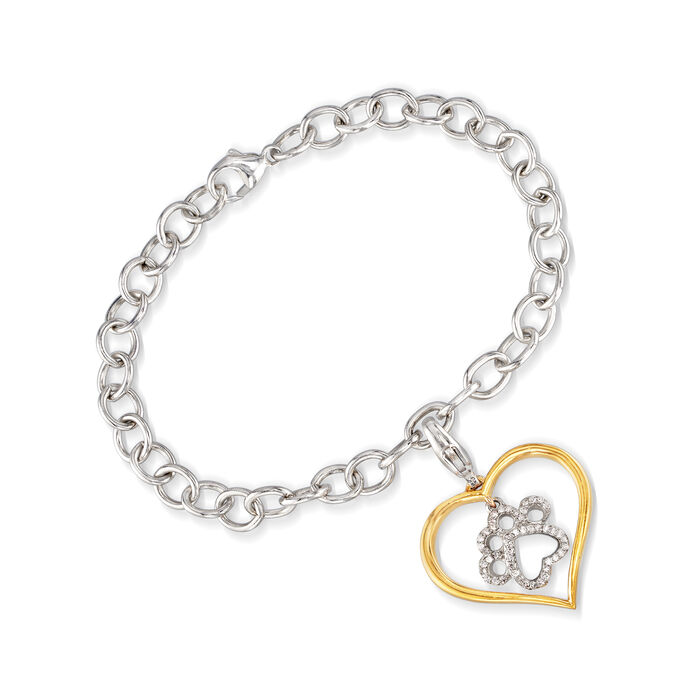 .15 ct. t.w. Diamond Paw Print and Heart Bracelet in Sterling Silver and 18kt Gold Over Sterling