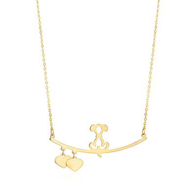 Italian 14kt Yellow Gold Dog with Hearts Necklace, , default