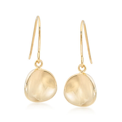 14kt Yellow Gold Concave Disc Drop Earrings, , default