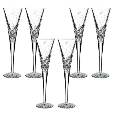 "Waterford Crystal ""Wishes Happy Celebrations"" Set of 2 Script Initial Toasting Flutes from Italy, , default"