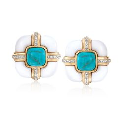 White Agate and Turquoise Earrings With .10 ct. t.w. Diamonds in 18kt Yellow Gold Over Sterling, , default