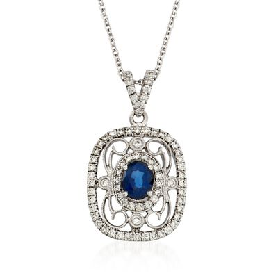 Simon G. .60 Carat Fancy Sapphire and .39 ct. t.w. Diamond Pendant Necklace in 18kt White Gold, , default
