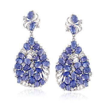 48.25 ct. t.w. Tanzanite and 3.50 ct. t.w. White Zircon Drop Earrings in Sterling Silver, , default
