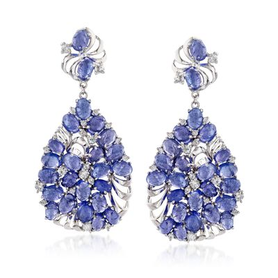 48.25 ct. t.w. Tanzanite and 3.50 ct. t.w. White Zircon Drop Earrings in Sterling Silver, , default