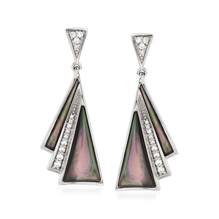 """Belle Etoile """"Empire"""" Black Mother-Of-Pearl and .40 ct. t.w. CZ Drop Earrings in Sterling Silver"""
