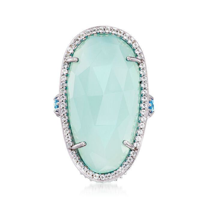 Aqua Chalcedony and .70 ct. t.w. Blue and White Topaz Ring in Sterling Silver. Size 5, , default