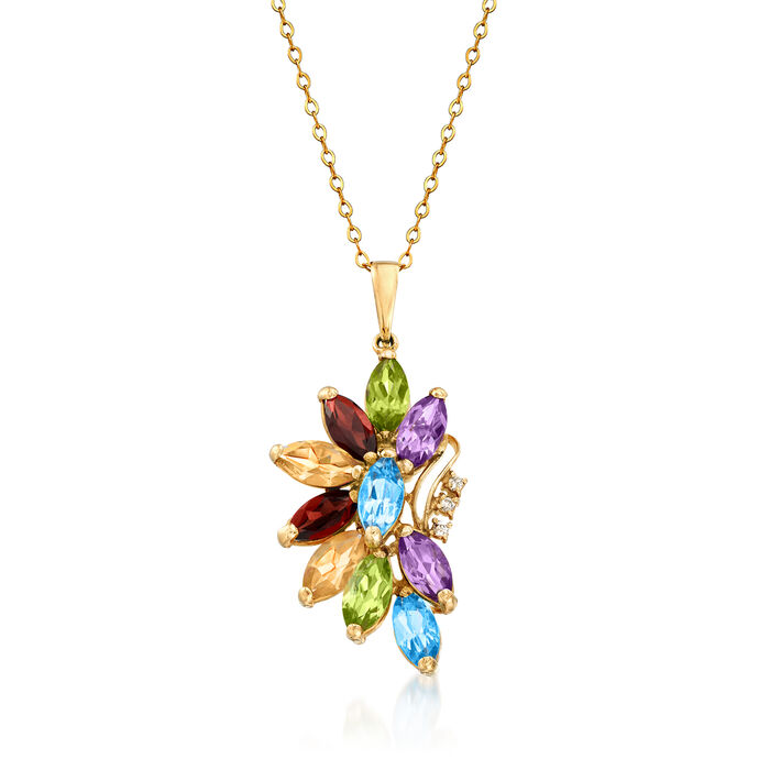 """C. 1980 Vintage 5.40 ct. t.w. Multi-Gem Flower Pendant Necklace with Diamond Accents in 14kt Yellow Gold. 18"""""""