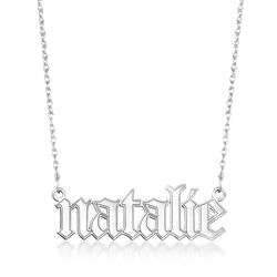 "Sterling Silver Gothic-Type Name Necklace. 18"", , default"