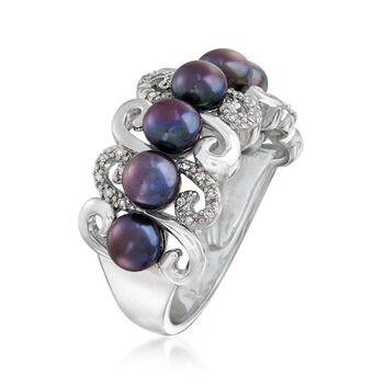 4.5-5mm Black Cultured Pearl and .10 ct. t.w. Diamond Ring in Sterling Silver