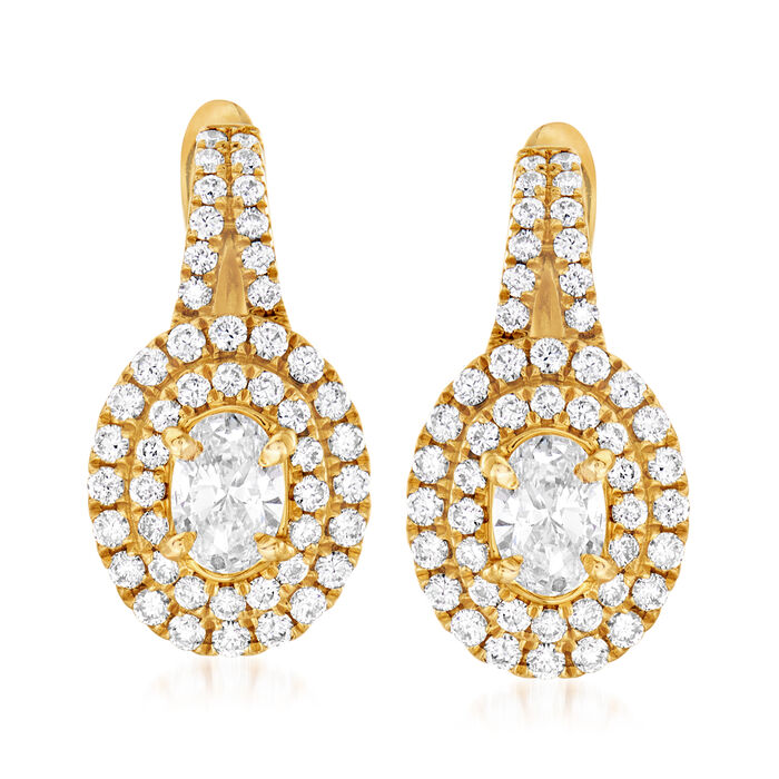 C. 1990 Vintage 1.40 ct. t.w. Diamond Double- Border Drop Earrings in 14kt Yellow Gold, , default