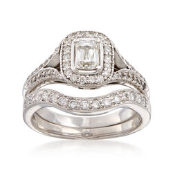 C. 2000 Vintage 1.05 ct. t.w. Diamond Bridal Set: Engagement and Wedding Rings in 18kt White Gold, , default