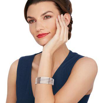 """Italian Sterling Silver Five-Row Open-Space Cuff Bracelet. 7.5"""", , default"""