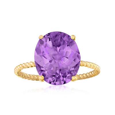 3.80 Carat Amethyst Ring in 14kt Yellow Gold