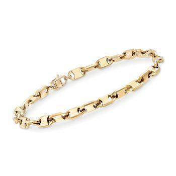 """Men's 5mm 14kt Yellow Gold Oval-Link Bracelet. 8.25"""", , default"""