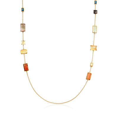 "C. 2000 Vintage Ippolita ""Rock Candy"" Marrakesh Black Mother-Of-Pear, Rock Crystal and 14.60 ct. t.w. Multi-Gemstone Station Necklace in 18kt Yellow Gold"