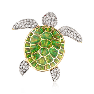 Italian 1.57 ct. t.w. CZ and Enamel Turtle Pin in 18kt Gold Over Sterling, , default