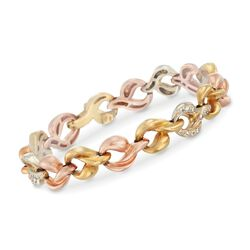 "C. 1980 Vintage .90 ct. t.w. Diamond Link Bracelet in 18kt Tri-Colored Gold. 7.25"", , default"