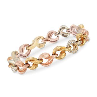 C. 1980 Vintage .90 ct. t.w. Diamond Link Bracelet in 18kt Tri-Colored Gold, , default