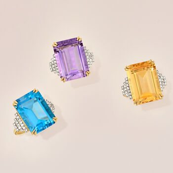 18.50 Carat Blue Topaz and .25 ct. t.w. Diamond Ring in 14kt Yellow Gold, , default