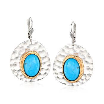 Turquoise Drop Earrings in Two-Tone Sterling Silver , , default