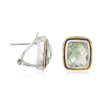 4.80 ct. t.w. Green Prasiolite Earrings in Sterling Silver and 14kt Yellow Gold