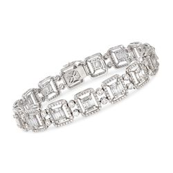"6.25 ct. t.w. Diamond Mosaic Bracelet in 18kt White Gold. 7"", , default"